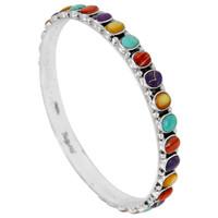 Multi Gemstone Bangle Bracelet Sterling Silver B5551B-C71