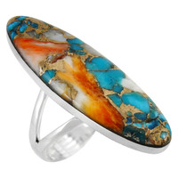 Spiny Turquoise Ring Sterling Silver R2440-C89