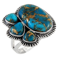 Matrix Turquoise Ring Sterling Silver R2441-C84