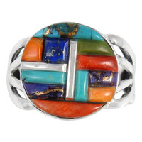 Multi Gemstone Ring Sterling Silver R2444-C51