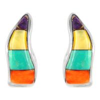 Sterling Silver Earrings Multi Gemstone E1286-C01