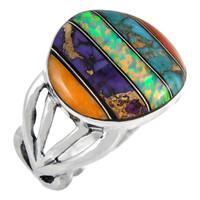 Multi Gemstone Ring Sterling Silver R2444-C00
