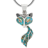 Sterling Silver Fox Pendant Matrix Turquoise P3160-C84