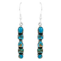 Sterling Silver Earrings Matrix Turquoise E1243-C84