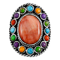 Multi Gemstone Flower Ring Sterling Silver R2031-C72