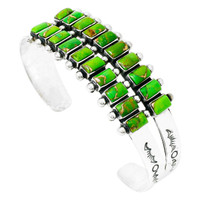 Green Turquoise Bracelet Sterling Silver B5500-C76