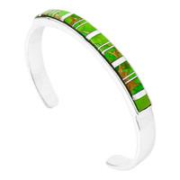 Green Turquoise Bracelet Sterling Silver B5538-C06