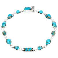 Matrix Turquoise Link Bracelet Sterling Silver B5553-C84