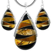 Tiger Eye Pendant & Earrings Set Sterling Silver PE4054-C33
