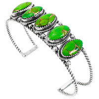 Green Turquoise Bracelet Sterling Silver B5569-C76