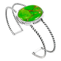 Green Turquoise Bracelet Sterling Silver B5571-C76
