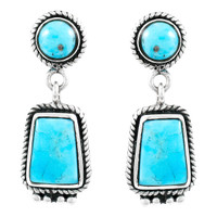 Turquoise Earrings Sterling Silver E1296-C75