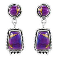 Purple Turquoise Earrings Sterling Silver E1296-C77