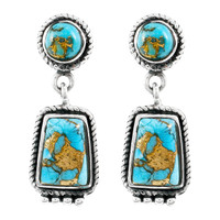 Matrix Turquoise Earrings Sterling Silver E1296-C84