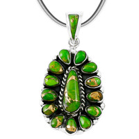 Green Turquoise Pendant Sterling Silver P3127-SM-C76