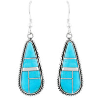 Turquoise Drop Earrings Sterling Silver E1299-C05