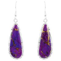 Purple Turquoise Drop Earrings Sterling Silver E1300-C77