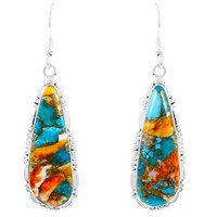 Spiny Turquoise Drop Earrings Sterling Silver E1300-C89B
