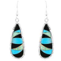 Multi Gemstone Drop Earrings Sterling Silver E1300-C39