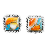 Spiny Turquoise Earrings Sterling Silver E1263-C89