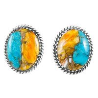 Spiny Turquoise Earrings Sterling Silver E1301-C89