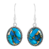 Matrix Turquoise Earrings Sterling Silver E1302-C84