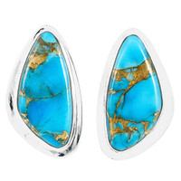Matrix Turquoise Earrings Sterling Silver E1304-C84