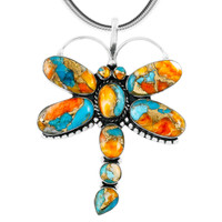 Spiny Turquoise Dragonfly Pendant Sterling Silver P3083-C89