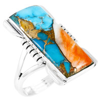 Spiny Turquoise Ring Sterling Silver R2017-C89B