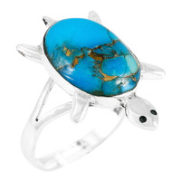 Matrix Turquoise Turtle Ring Sterling Silver R2235-C84