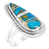 Matrix Turquoise Ring Sterling Silver R2404-C84