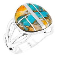 Spiny Turquoise Ring Sterling Silver R2444-C89