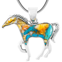 Horse Jewelry Pendant Sterling Silver Spiny Turquoise TQ P3049-SM-C89