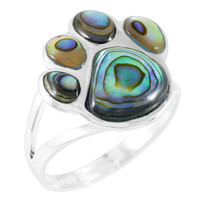 Paw Ring Sterling Silver Abalone Shell R2405-C10