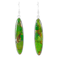 Sterling Silver Drop Earrings Green Turquoise E1309-C76