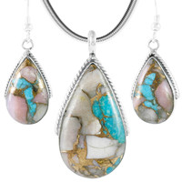 Sterling Silver Pendant & Earrings Set Mohave Pink-White TQ PE4054-C12