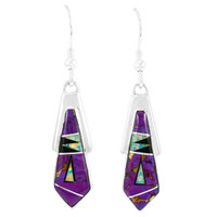 Purple Turquoise Earrings Sterling Silver E1076-C23