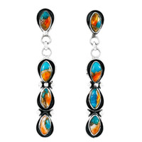Spiny Turquoise Earrings Sterling Silver E1179-C89