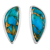 Matrix Turquoise Earrings Sterling Silver E1314-C84