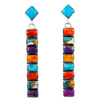 Sterling Silver Earrings Multi Gemstones E1305-C71