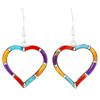 Sterling Silver Heart Earrings Multi Gemstones E1315-C01