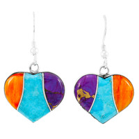 Sterling Silver Heart Earrings Multi Gemstones E1316-C01