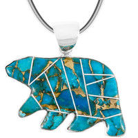 Sterling Silver Bear Pendant Matrix Turquoise P3052-C84