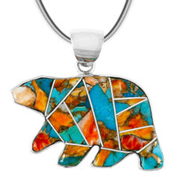 Sterling Silver Bear Pendant Spiny Turquoise P3052-C89