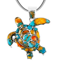 Sterling Silver Turtle Pendant Spiny Oyster P3180-C89