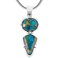 Sterling Silver Pendant Matrix Turquoise P3275-C84