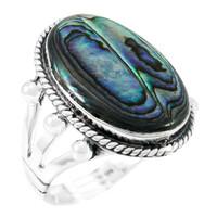 Abalone Shell Ring Sterling Silver R2381-C10