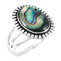 Abalone Shell Ring Sterling Silver R2451-C10