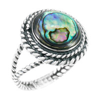 Abalone Shell Ring Sterling Silver R2290-C10