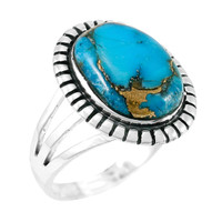 Matrix Turquoise Ring Sterling Silver R2451-C84